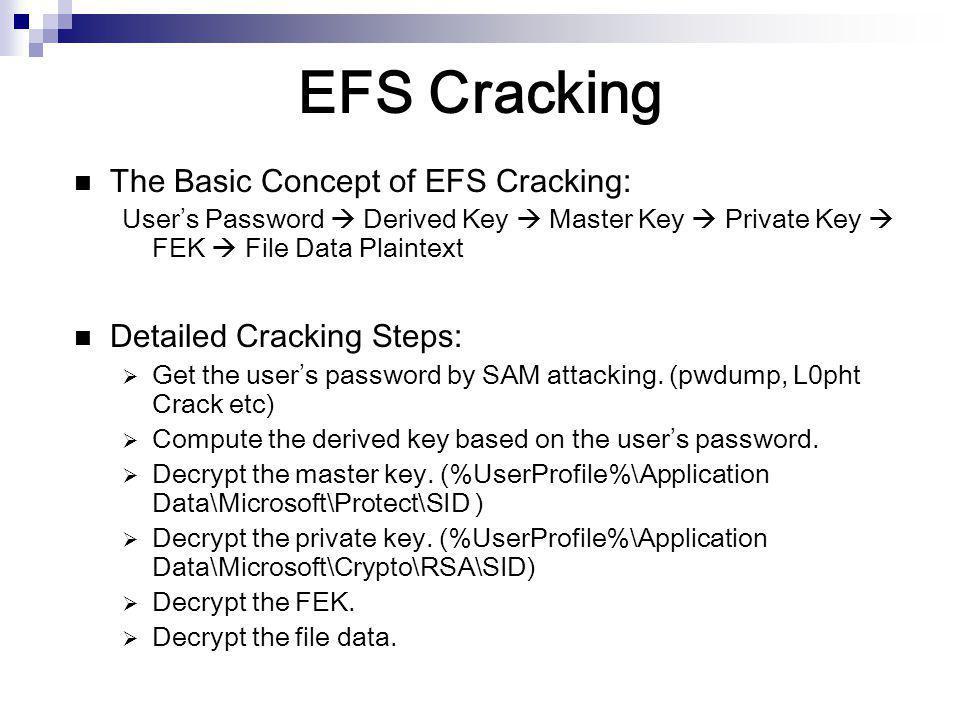EFS Cracking The Basic Concept of EFS Cracking: