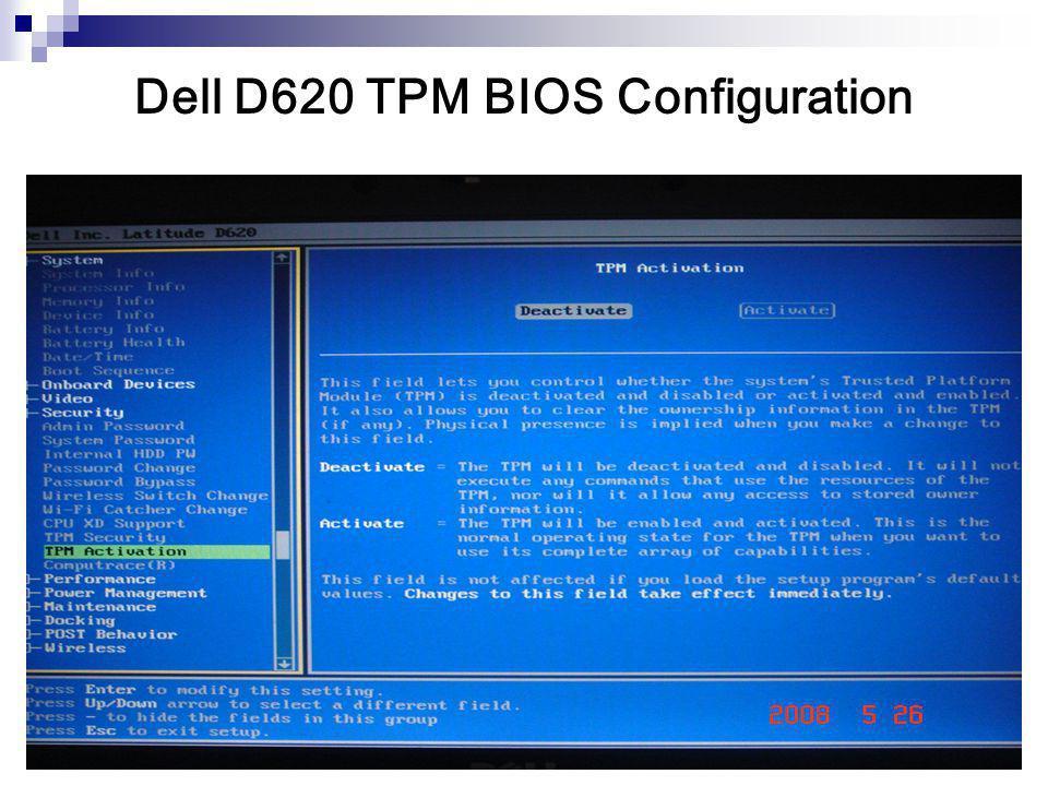 Dell D620 TPM BIOS Configuration