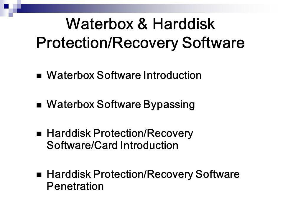 Waterbox & Harddisk Protection/Recovery Software