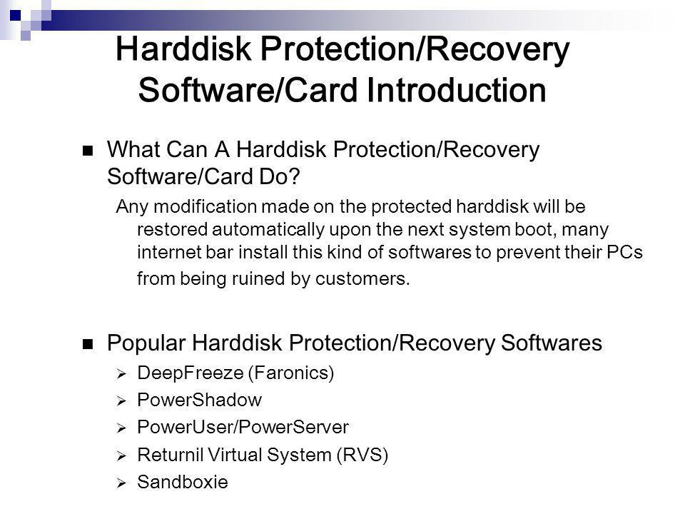 Harddisk Protection/Recovery Software/Card Introduction