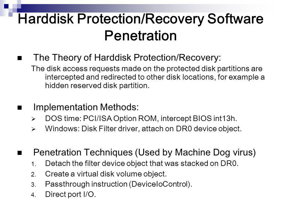 Harddisk Protection/Recovery Software Penetration