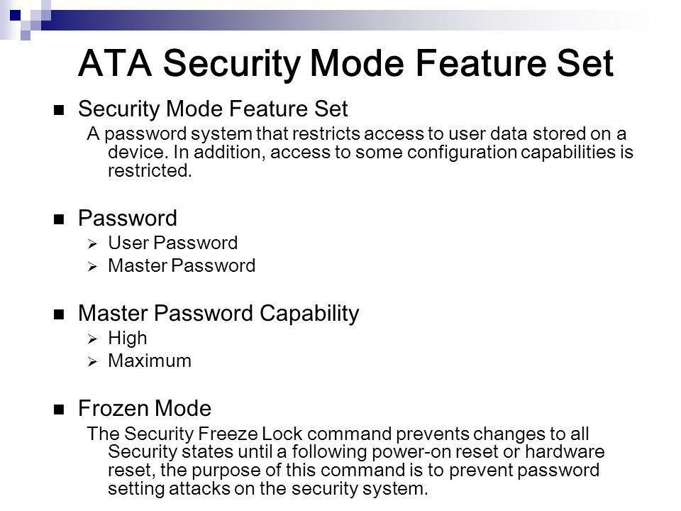 ATA Security Mode Feature Set