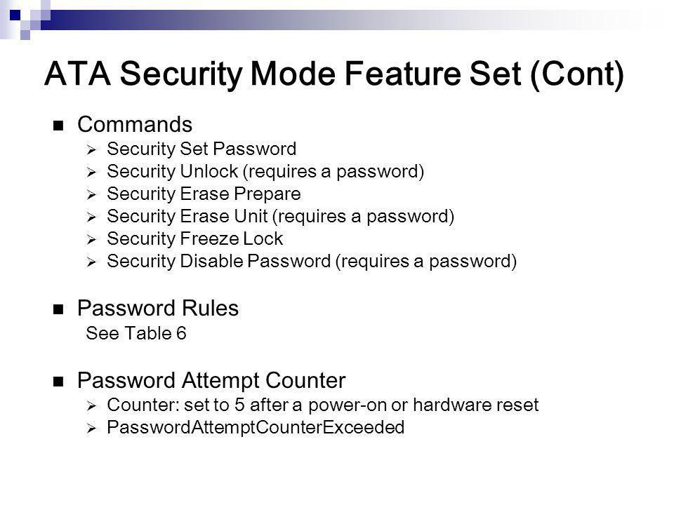 ATA Security Mode Feature Set (Cont)