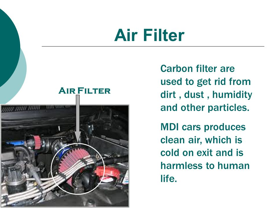 Air Filter Carbon filter are used to get rid from dirt , dust , humidity and other particles.