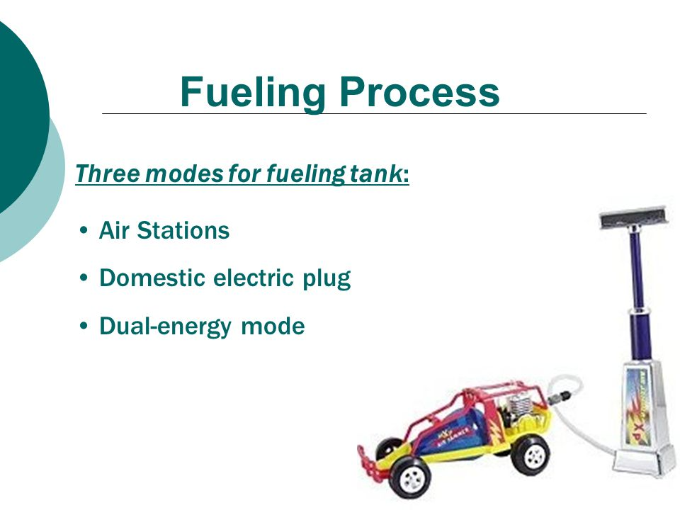 Fueling Process Three modes for fueling tank: Air Stations