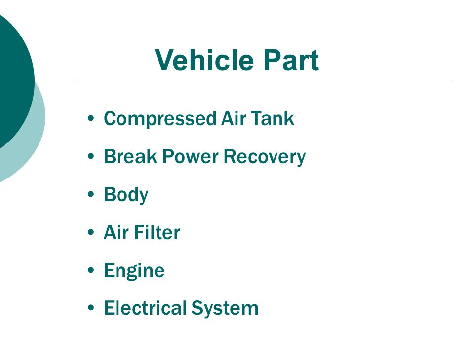 Vehicle Part Compressed Air Tank Break Power Recovery Body Air Filter