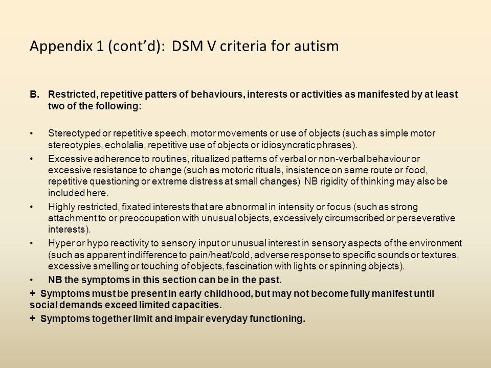 Appendix 1 (cont'd): DSM V criteria for autism
