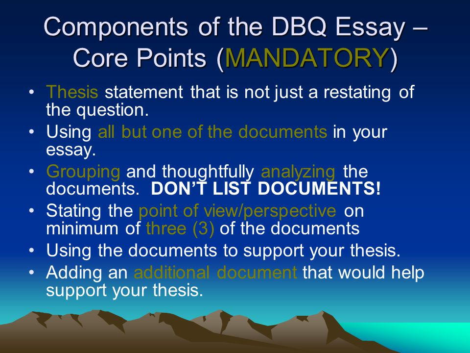 Writing and Evaluating Introductions for Document Based Question Essays