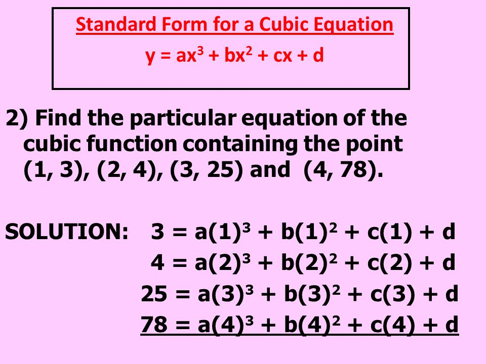 Standard Form for a Cubic Equation