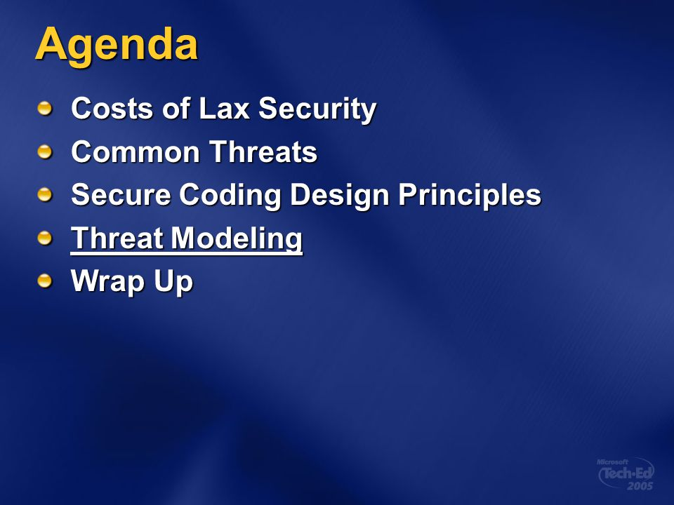 Agenda Costs of Lax Security Common Threats