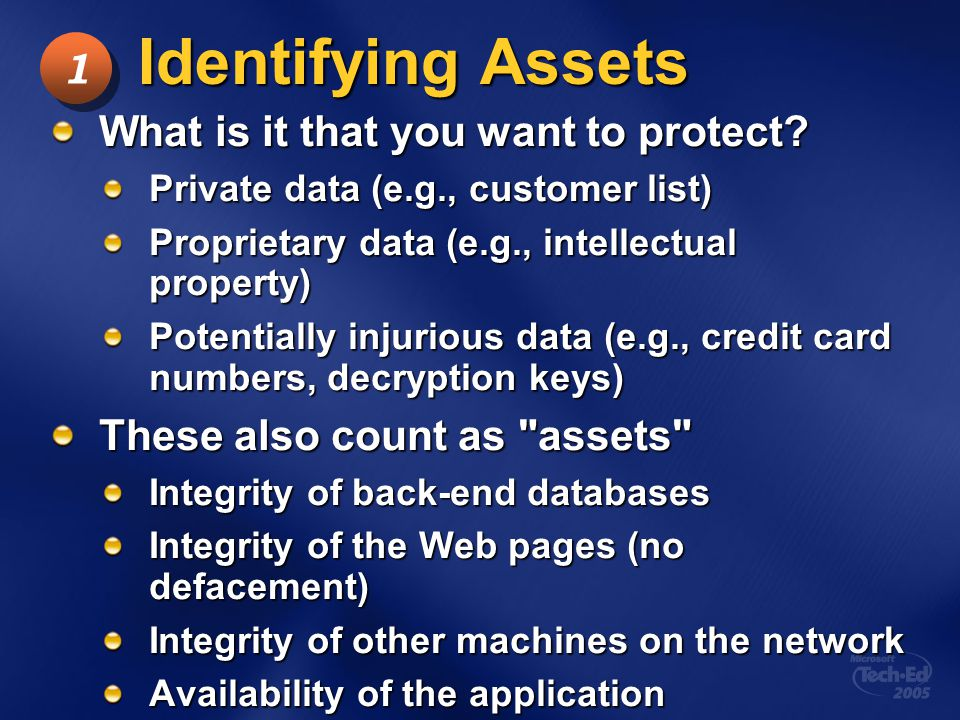 Identifying Assets 1 What is it that you want to protect