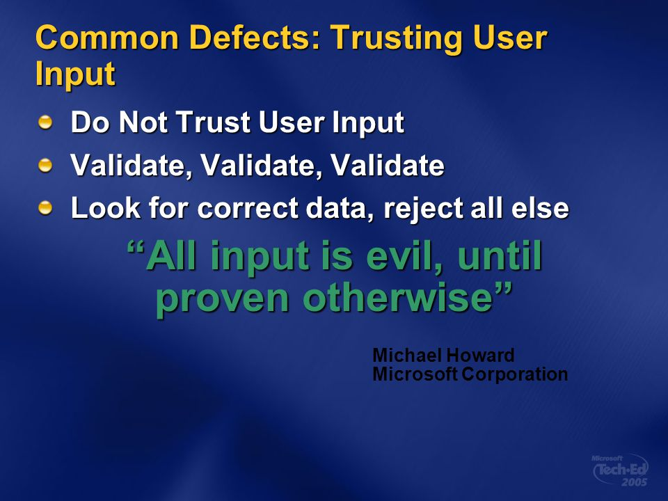 Common Defects: Trusting User Input