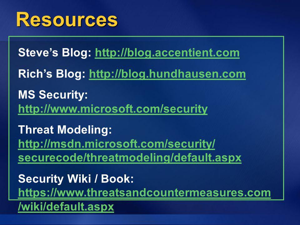 Resources Steve's Blog: http://blog.accentient.com