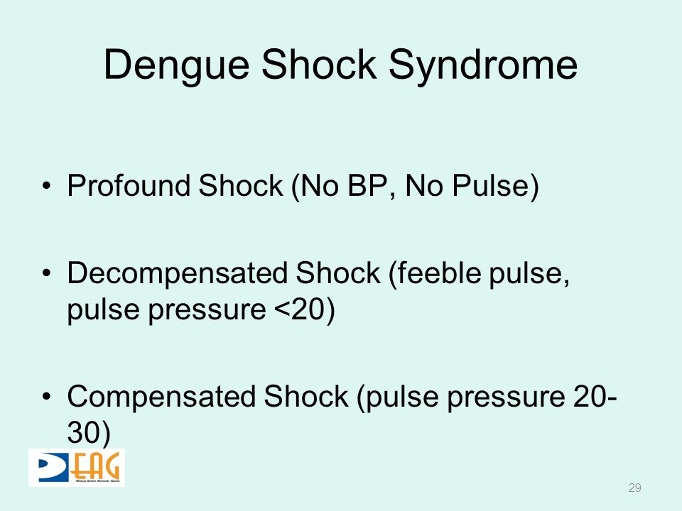 Dengue Shock Syndrome Profound Shock (No BP, No Pulse)