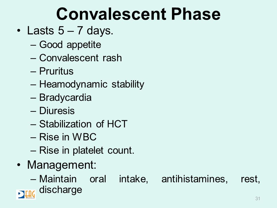Convalescent Phase Lasts 5 – 7 days. Management: Good appetite
