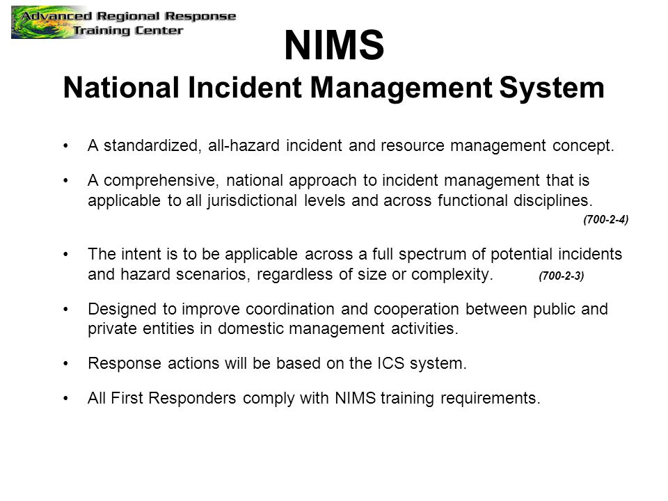 NIMS National Incident Management System