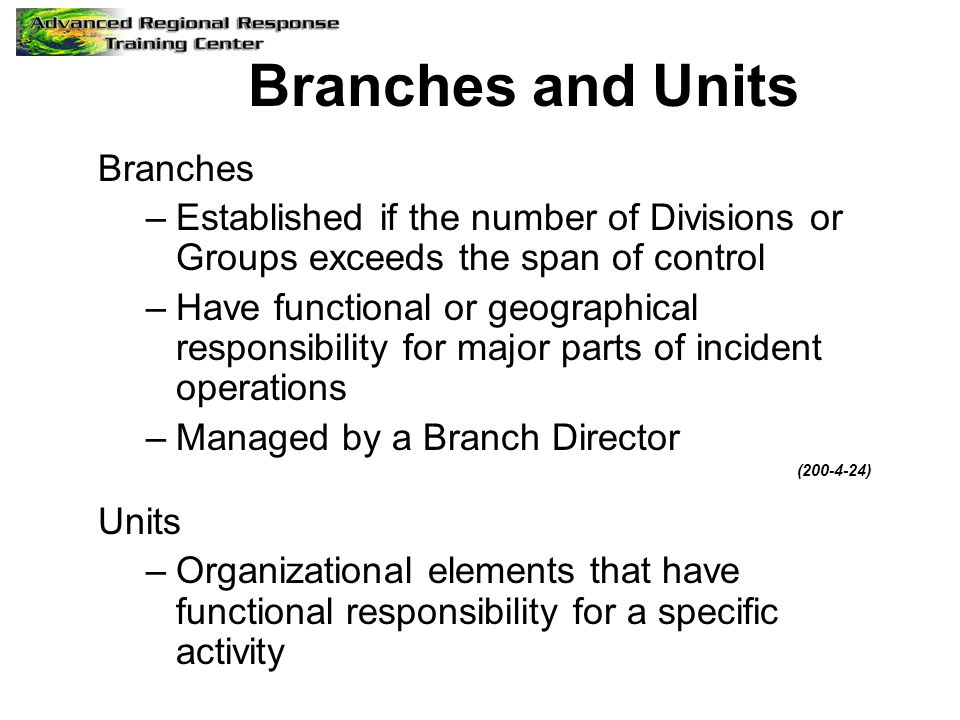 Branches and Units Branches