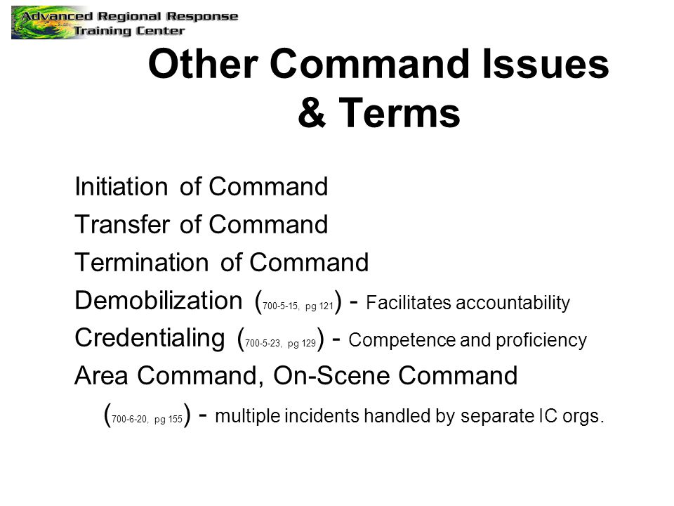 Other Command Issues & Terms