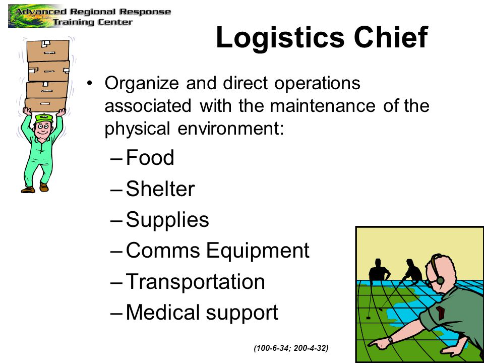 Logistics Chief Food Shelter Supplies Comms Equipment Transportation