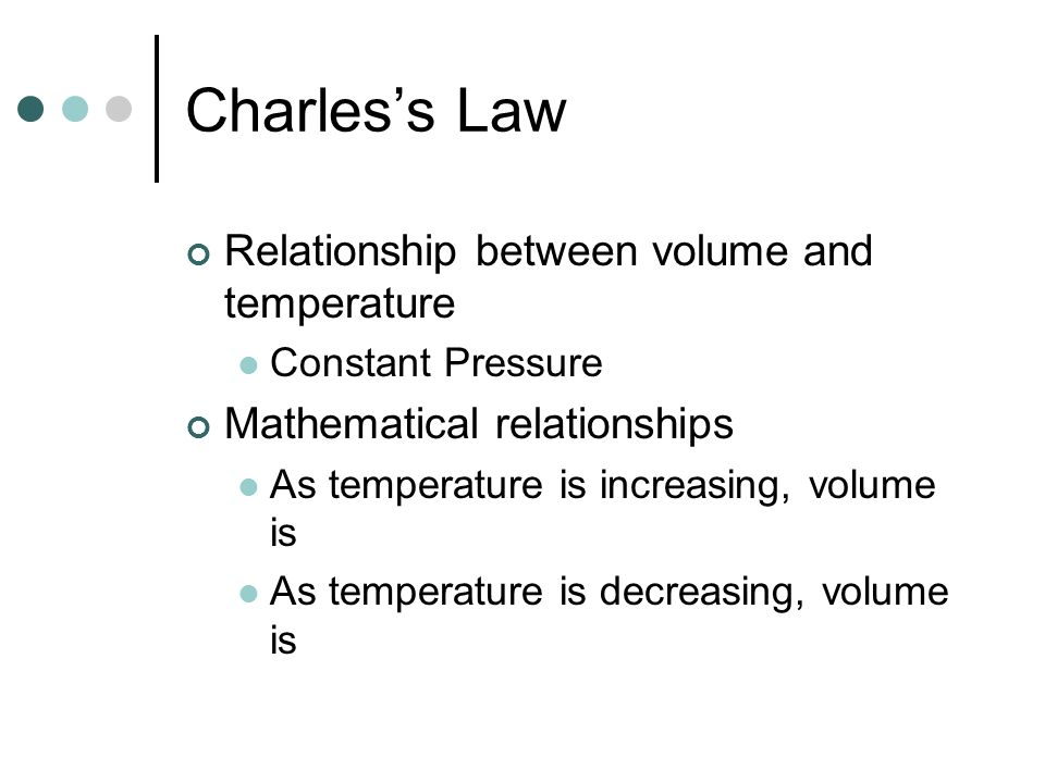 Charles's Law Relationship between volume and temperature