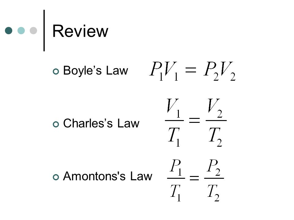 Review Boyle's Law Charles's Law Amontons s Law