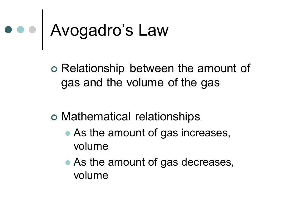 Avogadro's Law Relationship between the amount of gas and the volume of the gas. Mathematical relationships.