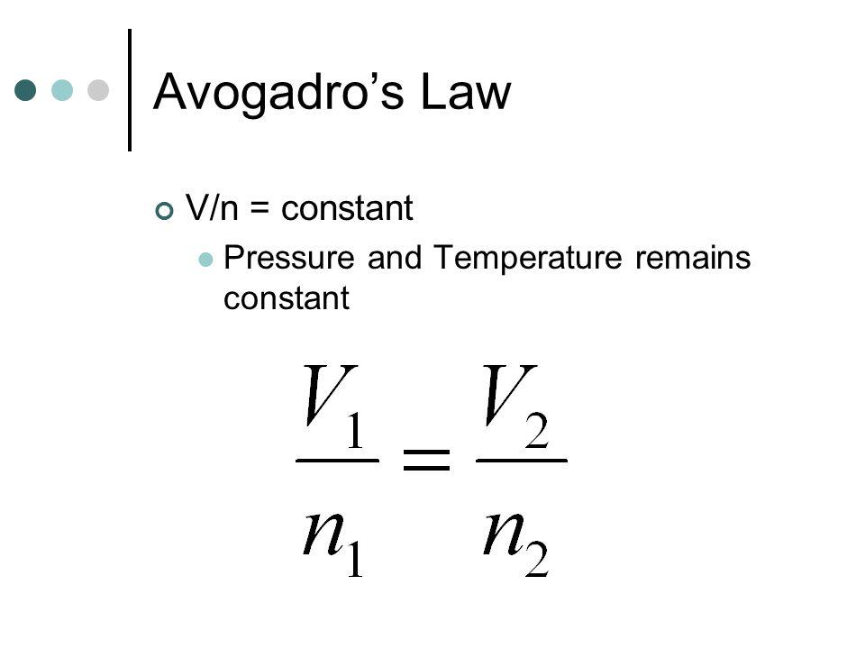 Avogadro's Law V/n = constant