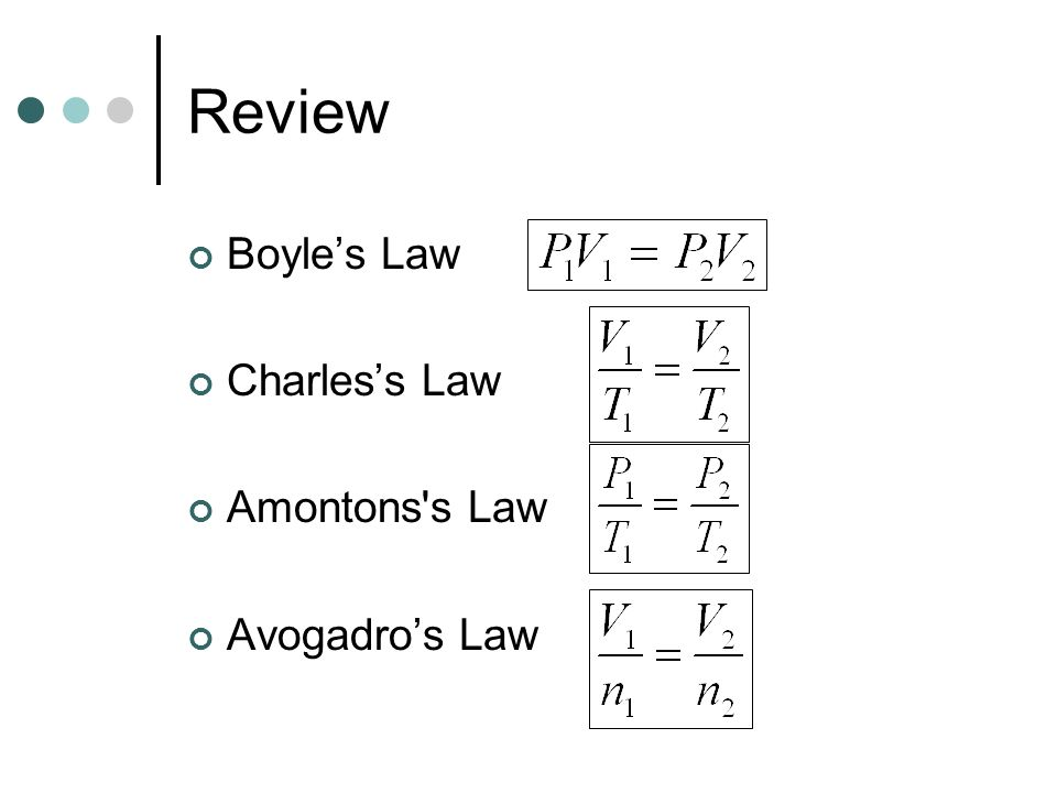 Review Boyle's Law Charles's Law Amontons s Law Avogadro's Law