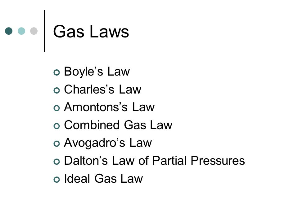 Gas Laws Boyle's Law Charles's Law Amontons's Law Combined Gas Law