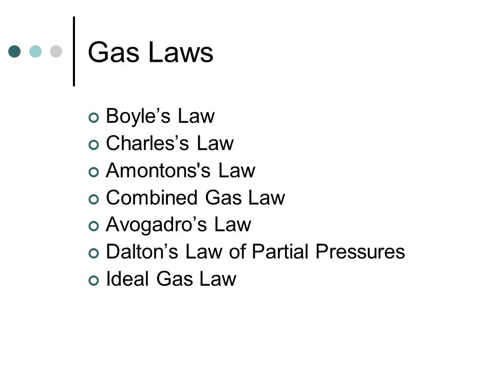 Gas Laws Boyle's Law Charles's Law Amontons s Law Combined Gas Law