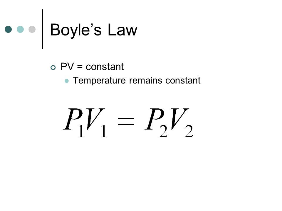 Boyle's Law PV = constant Temperature remains constant