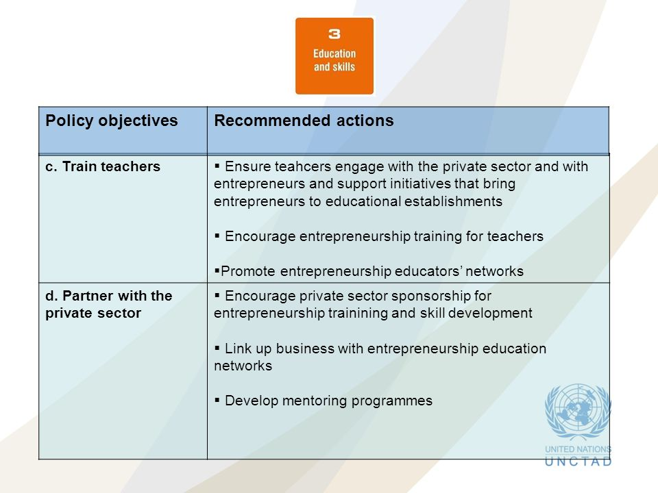 Policy objectives Recommended actions c. Train teachers