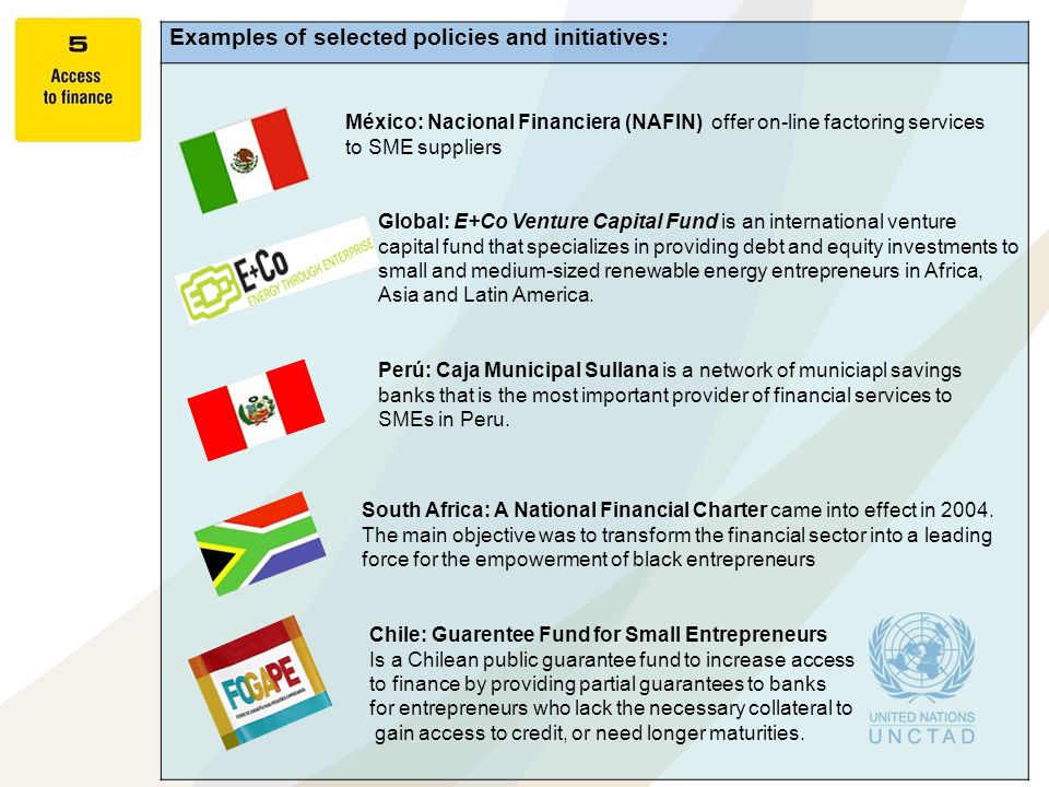 Examples of selected policies and initiatives: