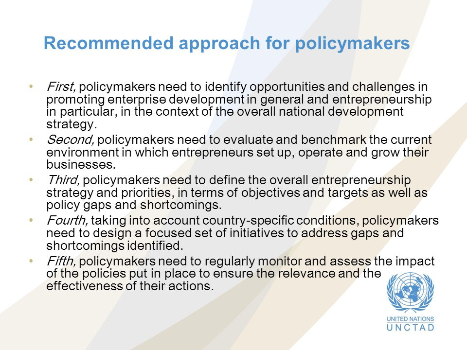 Recommended approach for policymakers