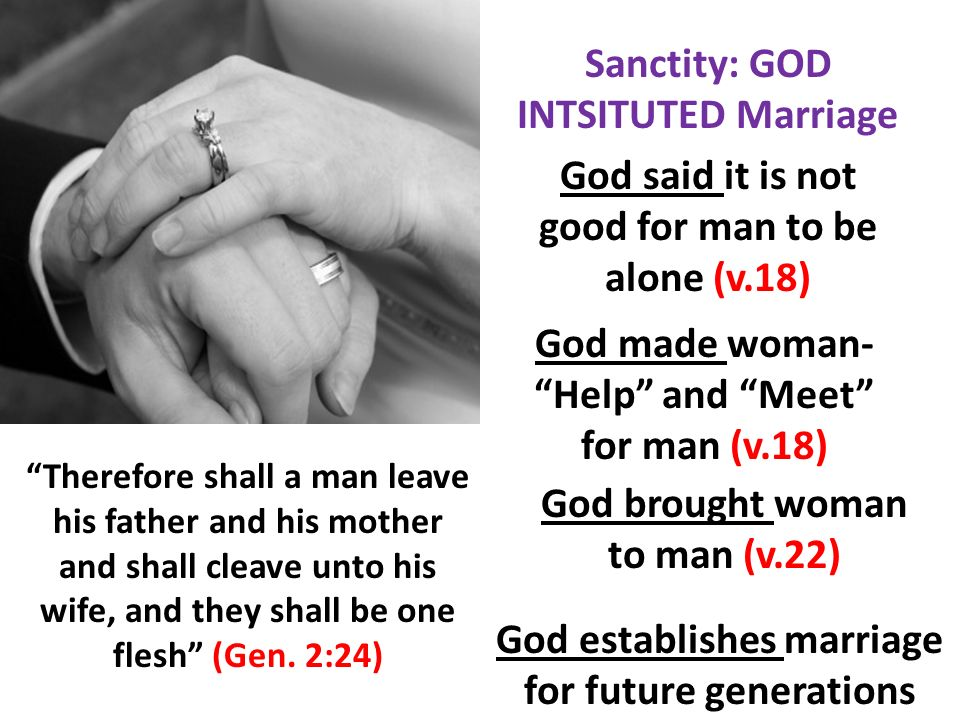 Sanctity: GOD INTSITUTED Marriage