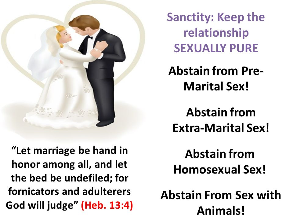 Sanctity: Keep the relationship SEXUALLY PURE