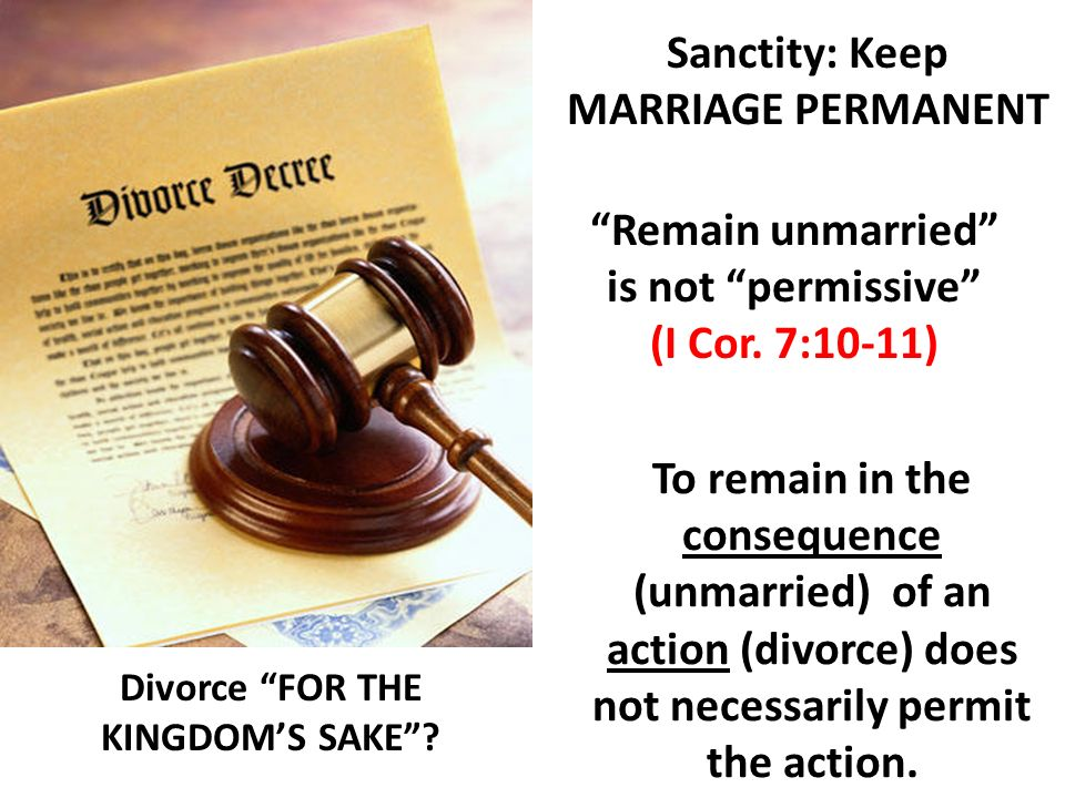 Sanctity: Keep MARRIAGE PERMANENT