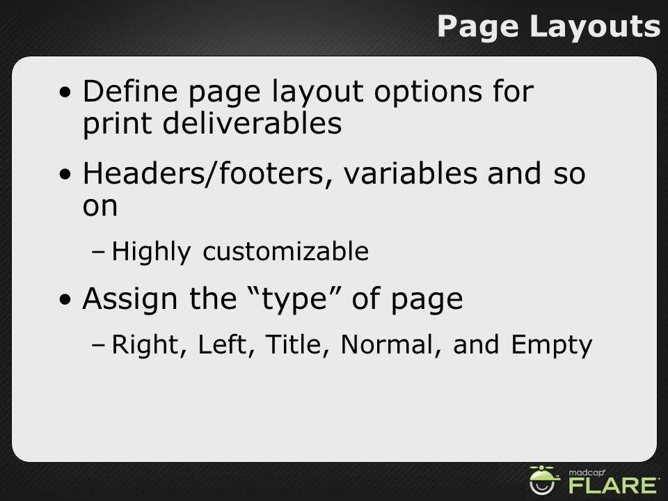 Define page layout options for print deliverables