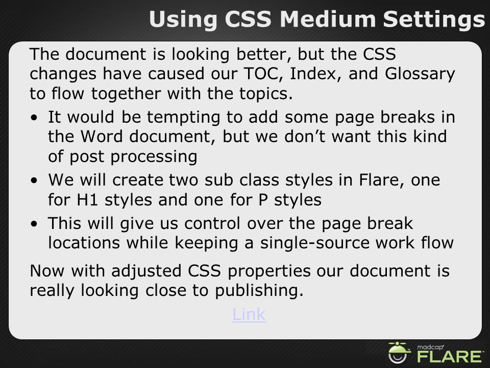 Using CSS Medium Settings