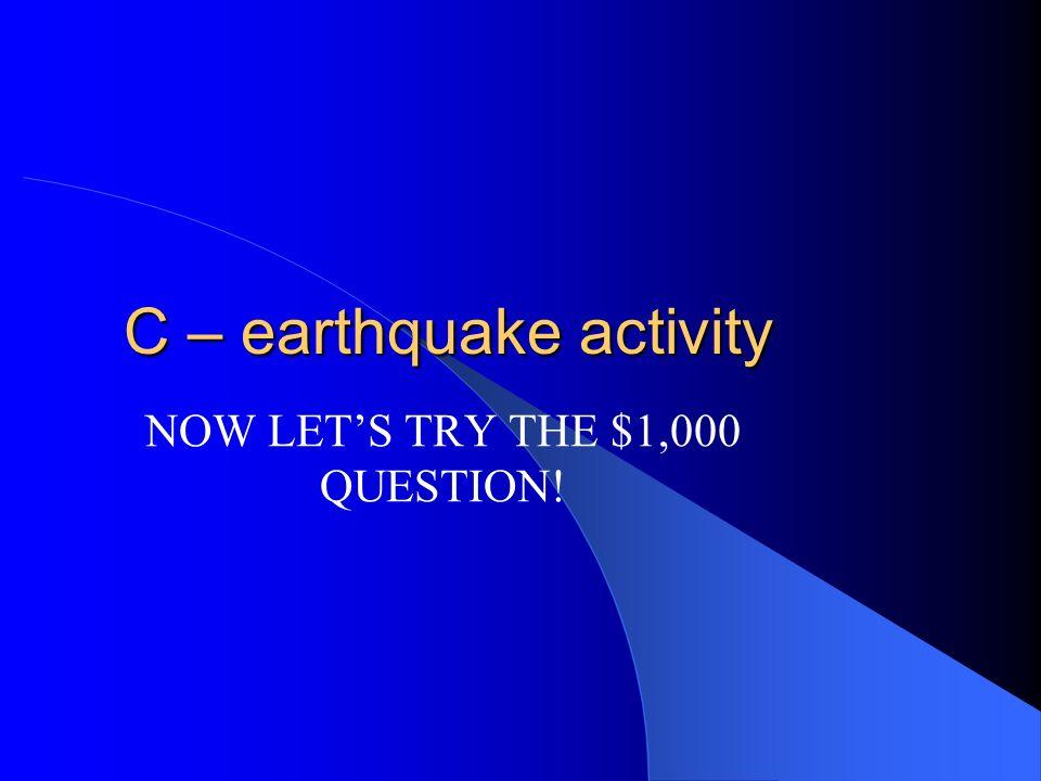 C – earthquake activity