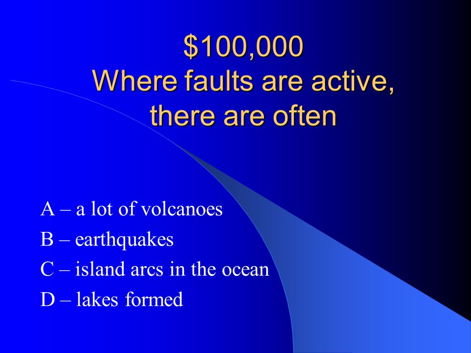 $100,000 Where faults are active, there are often