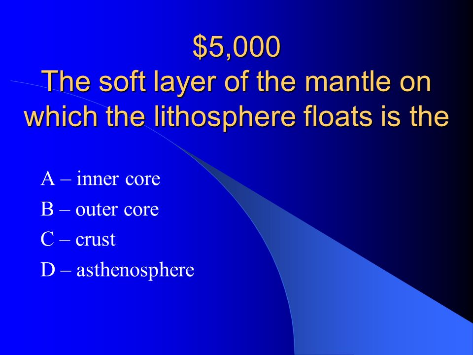 A – inner core B – outer core C – crust D – asthenosphere