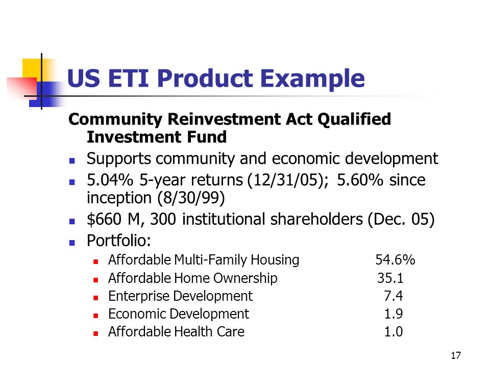US ETI Product Example Community Reinvestment Act Qualified Investment Fund. Supports community and economic development.