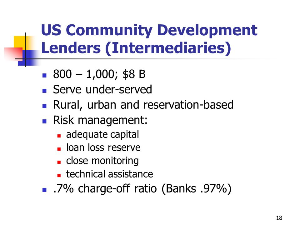 US Community Development Lenders (Intermediaries)