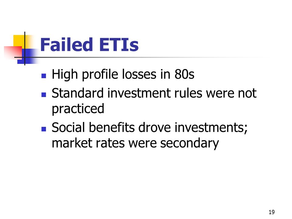 Failed ETIs High profile losses in 80s