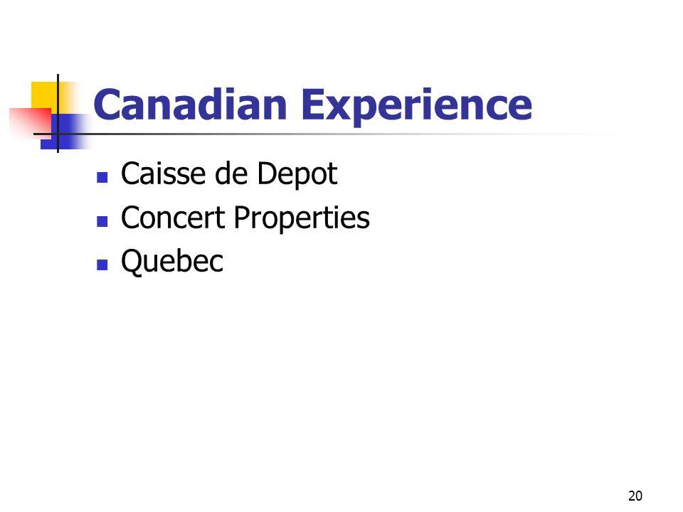 Canadian Experience Caisse de Depot Concert Properties Quebec