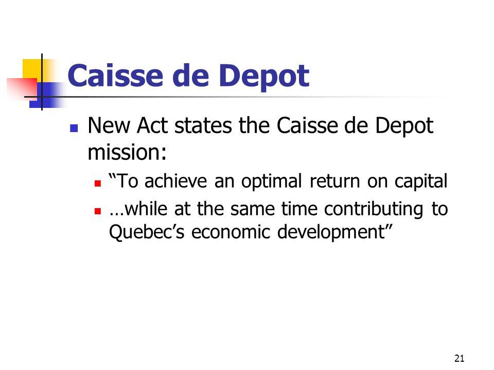 Caisse de Depot New Act states the Caisse de Depot mission: