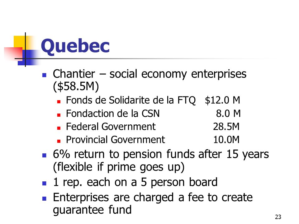 Quebec Chantier – social economy enterprises ($58.5M)