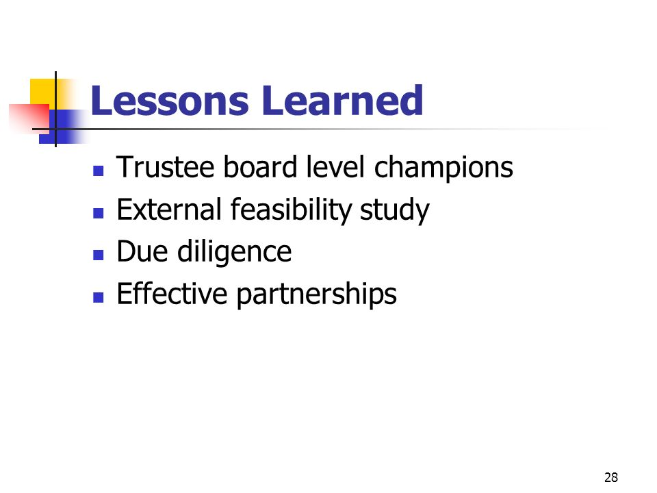 Lessons Learned Trustee board level champions