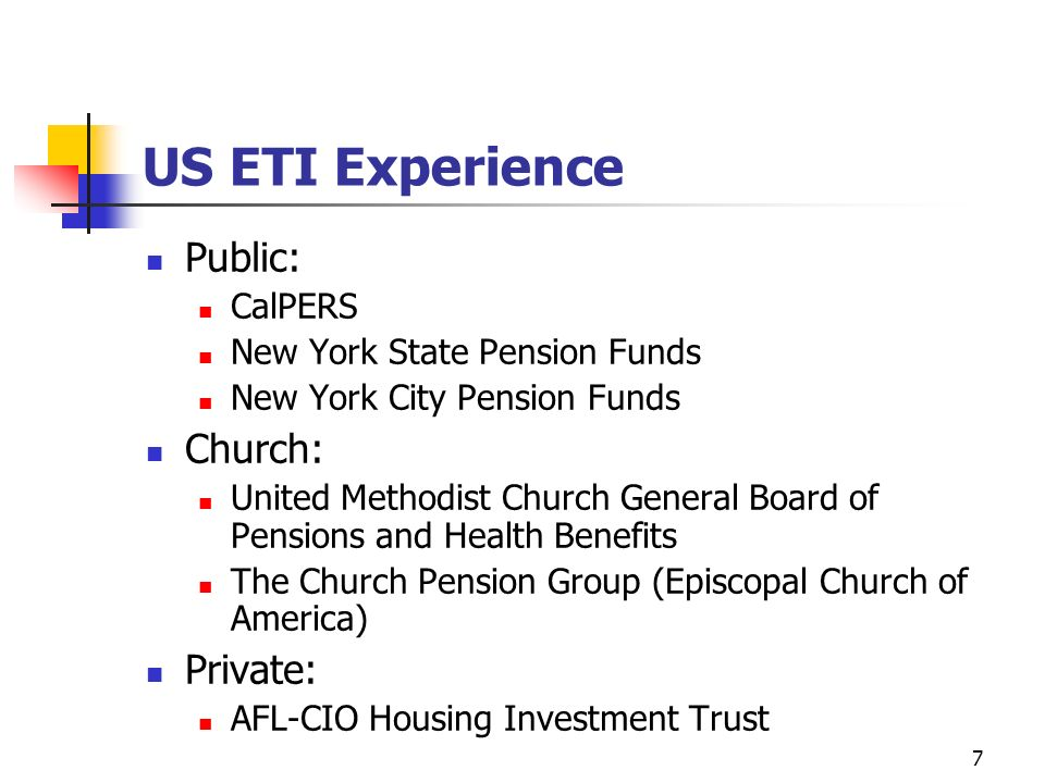 US ETI Experience Public: Church: Private: CalPERS